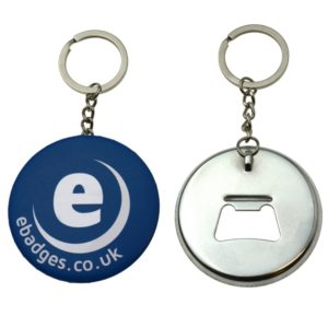 Made up 58mm bottle opener keyring showing front and back view