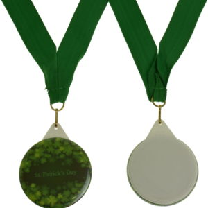 Clipped image of St Patricks Day medal with green ribbon shown from front and back